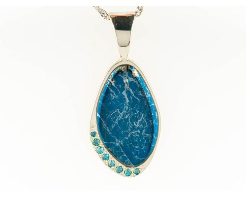 Star Of Alaska Natural Covellite Pendant With Eight Swiss Blue Topaz