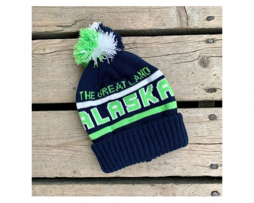 Alaska The Great Land Beanie-Navy/Lime