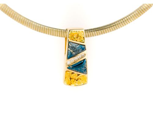 Star Of Alaska Pendant With Covellite & Gold Nugget Alternating Inlay With Center Diamonds