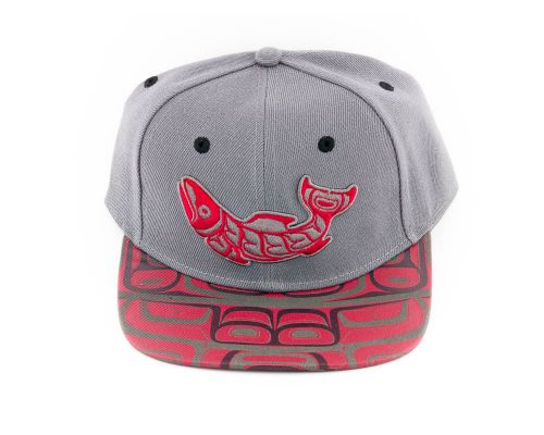 Native Totemic Hat With Red Salmon Design