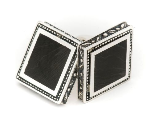 Alaska Black Petrified Wood Square Cufflinks With Detailed Engraving