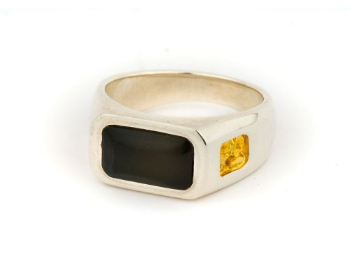 Alaska Black Petrified Wood Mens Rectangular Ring With Gold Nugget Sides
