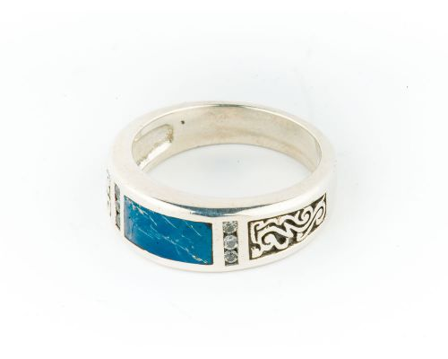 Star Of Alaska Ladies Covellite Ring With Diamond Cut White Sapphires & Detailed Side Engraving