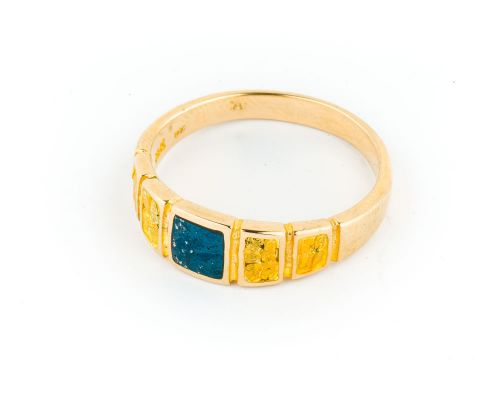Star Of Alaska Men's Covellite Ring With Square Gold Nugget Side Panels
