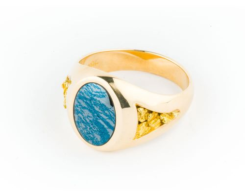 Star of Alaska Ring with Circular Covellite Inlay and Gold Nugget on Both Sides