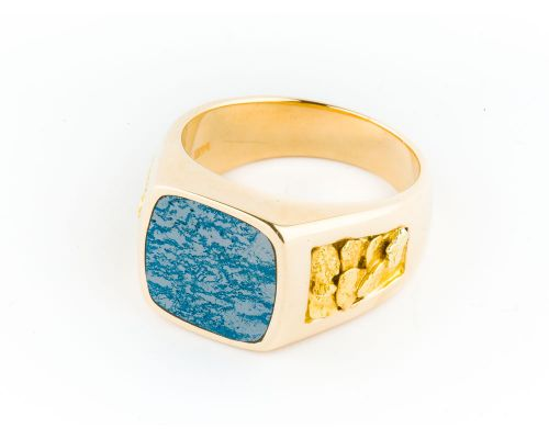 Star Of Alaska Square Covellite Men's Ring With Gold Nugget Sides