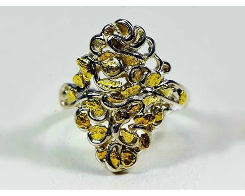Orocal Diamond Shaped Gold Nugget Ladies Ring With Many Small Nuggets