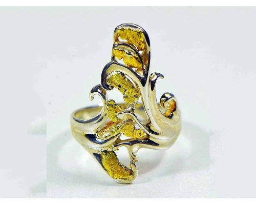 Orocal Stylized Gold Nugget Ladies Ring