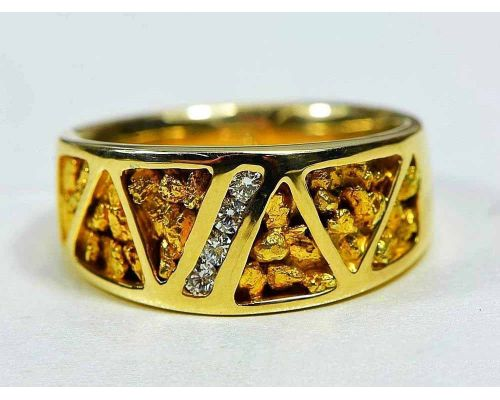 Orocal Genuine Hand Crafted Gold Nugget Men's Ring