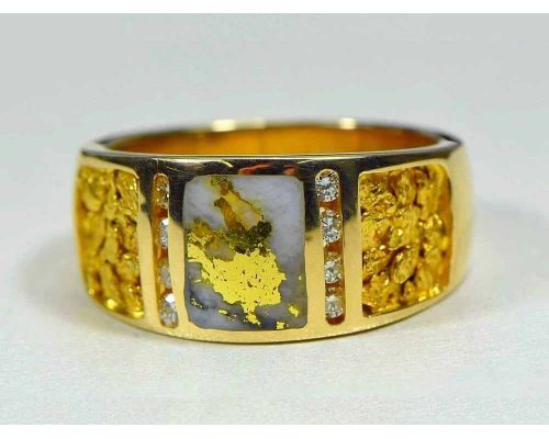 Orocal Gold Quartz Men's Ring With Nugget Side Panels & Diamonds