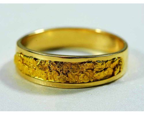 Orocal Genuine Gold Nugget Men's Band Ring