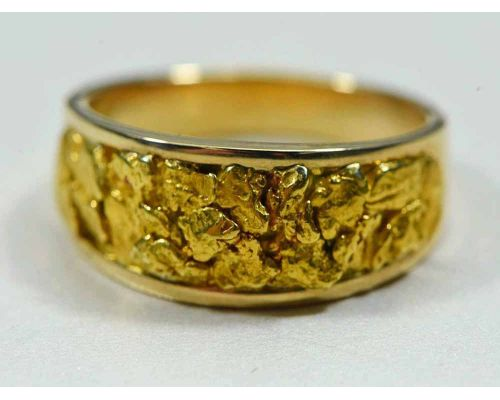 Orocal Genuine Hand Crafted Men's Gold Nugget Ring
