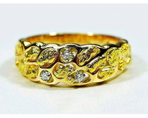 Orocal Band Of Gold Nugget Men's Ring With 3 Diamonds