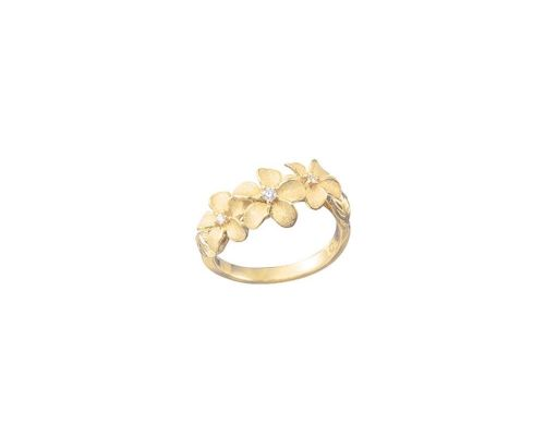 Denny Wong Forget-Me-Not Plumeria Flower Lei Ladies Ring With Center Diamonds