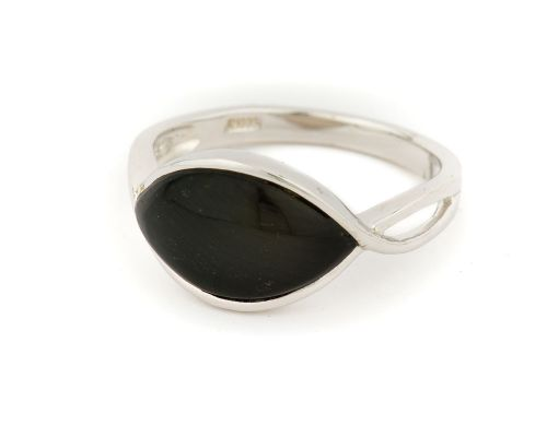 Alaska Black Petrified Wood Symmetric Lens Shaped Ladies Ring