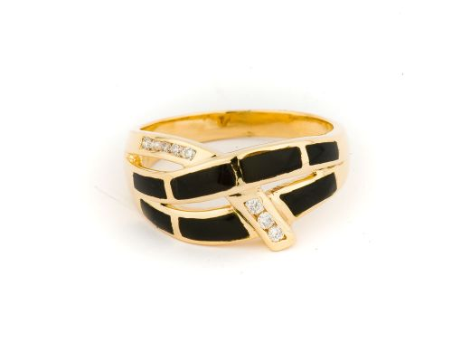 Alaska Black Petrified Wood Woven Ladies Ring With Diamond Pattern